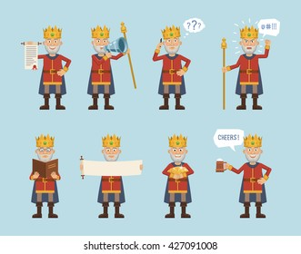 Set of king characters posing in different situations. Cheerful king holding scroll, loudspeaker, gold, mug of beer, reading a book, talking on the phone. Flat style vector illustration