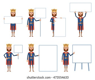 Set of king characters posing with different blank banners. Cheerful king holding paper, poster, placard, pointing to whiteboard. Teach, advertise, promote. Flat vector illustration