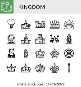 Set of kingdom icons such as Stonehenge, Crown, Fortress, Castle, London eye, Fortification, Gherkin, King, Clock tower, Coat of arms, Sceptre , kingdom