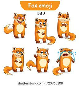 Set kit collection sticker emoji emoticon emotion vector isolated illustration happy character sweet, cute red fox