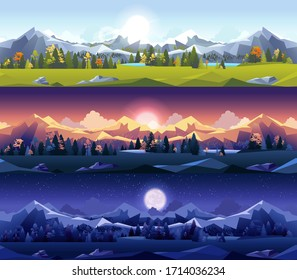 Set kit collection vector illustration horizontal background mountain view landscape flat style outdoor night day sunset sunrise trees nature sunlight stars big full moon scenery scene motion design