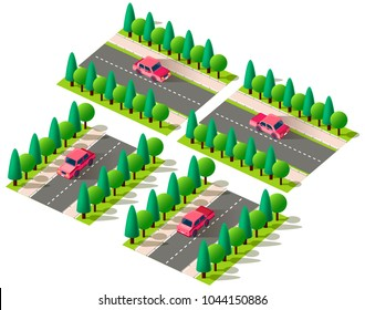 Set kit collection vector isolated isometric front, back left right view red passenger car, sedan on road, city urban infrastructure element logistics, transportation, travel, trip white background