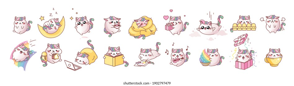 Set kit collection vector isolated illustration cute Cat Kitty kitten kawaii chibi style Emoji character sticker emoticon smile emotion mascot sleep enjoy laptop lunch dinner coffee break rainbow