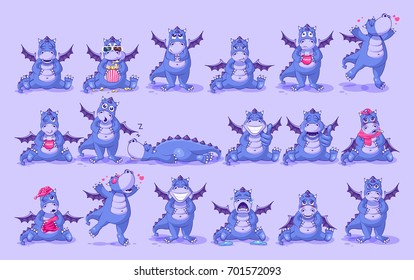 Set kit vector Illustrations isolated Emoji character cartoon dragon dinosaur stickers emoticons with different emotions for site, info graphics, video, animation, website, newsletter, reports, comics
