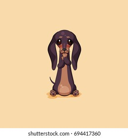 Set kit vector stock illustration emoji of cartoon character dog talisman, phylactery hound, mascot pooch, bowwow dachshund sticker emoticon German badger-dog sleeps on stomach emotion design element