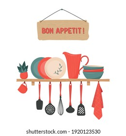 Set of kitchen accessory on shelves and Bon Appetit sign. Vector kitchen tools. Kitchen shelves in retro style. Household utensil and cutlery, crockery. Cooking equipment and  food preparation theme