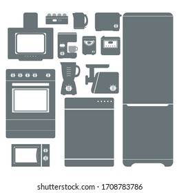 Set of kitchen appliances icons. Kitchen domestic electrical equipment. Flat vector illustrations. Isolated cooking icons.