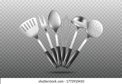 Set of kitchen cooking utensils such as soup ladles and slotted spoons laying arched on surface, realistic mockup vector illustration isolated on transparent background.