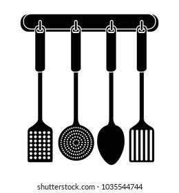 set kitchen cutlery hanging