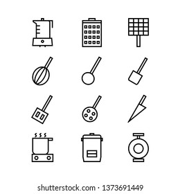 Set of kitchen elements, various kitchen line icons - Vector