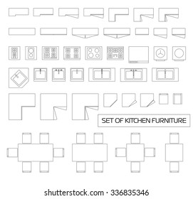 Set of kitchen furniture, top view, vector