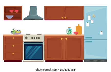 Set of kitchen furniture and utensils. Wall cabinets, fridge and oven. Vector illustration in cartoon style.
