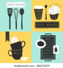 Set of kitchen hand drawn elements. Doodle vector food illustrations for kitchen design. Art of cooking. Kitchen card template