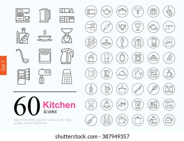 Set of kitchen icons for web or services. 60 design line icons high quality, vector illustration.