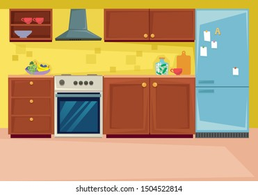 Set kitchen interior. Furniture and household items in the dining room. Vector illustration in cartoon flat style.