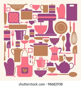 A set of kitchen items in pink, purple and brown.