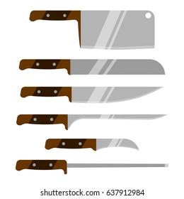 Set of kitchen knives. Kitchen utensils. Vector knife. Isolated on white background.