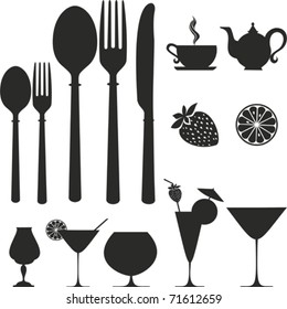 set of kitchen object. Vector icon.  Isolated on White Background. Silhouette.