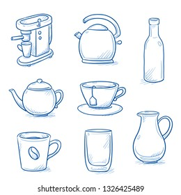 Set of kitchen objects and crockery: tea pot, coffee machine, cup, jug, glass and kettle. Hand drawn blue line art cartoon vector illustration.