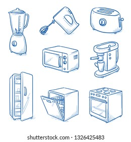 Set of kitchen objects, electric devices as: stove, refridgerator, dish washer, blender, micro wave, toaster, coffee machine. Hand drawn blue line art cartoon vector illustration.