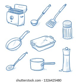 Set of kitchen objects and tools as: ladle, frying pan, salt & pepper, casserole, pot and fryer. Hand drawn blue line art cartoon vector illustration.