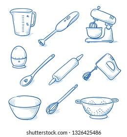 Set of kitchen objects and utensils as: stirrer, blender, measuring pot, timer, rolling pin, bowl, whisk and strainer. Hand drawn blue line art cartoon vector illustration.