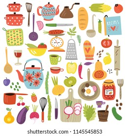 Set of kitchen objects, vector