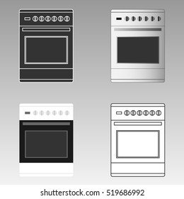 Set of kitchen stove, kitchen stove icon isolated. Flat design, vector.
