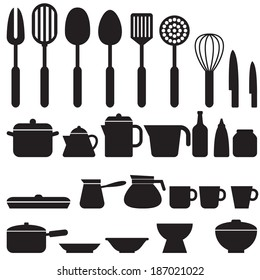 Set of kitchen tool silhouette icons vector