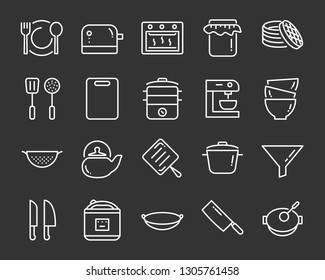 set of kitchen tools icons, such as knife, plate, oven, pan, fork, bowl, mixer