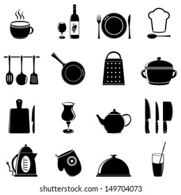 set of kitchen tools silhouettes