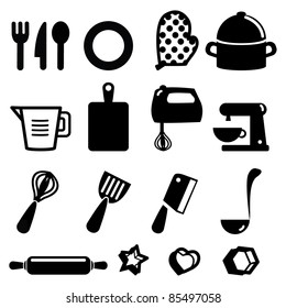 Set of kitchen tools- Silhouettes