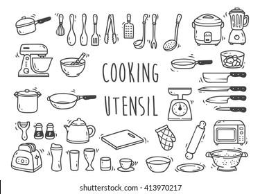Set of kitchen utensil doodle