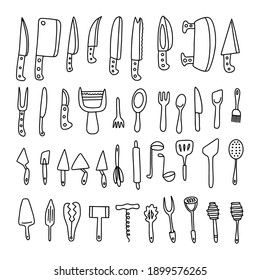 Set of kitchen utensil doodle on white isolated background.