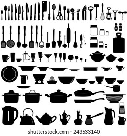 Set of kitchen utensils and appliances