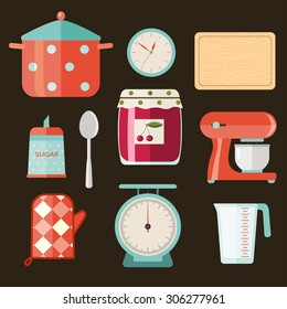 set of kitchen utensils for cooking the jam. vector flat illustration