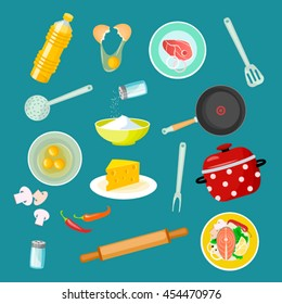 Set of kitchen utensils and  kitchenware equipment with food ingredients.Vector Creative cooking background in flat cartoon style