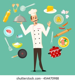 Set of kitchen utensils. Kitchenware equipment with food ingredients and Professional Chef Cook Character  in flat cartoon style