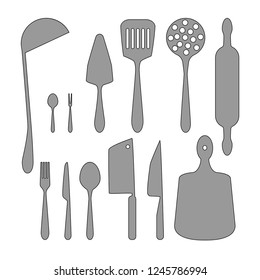 A set of kitchen utensils, ladle, spatula, spoons, forks, knives, rolling pin, skimmer, cutting board.