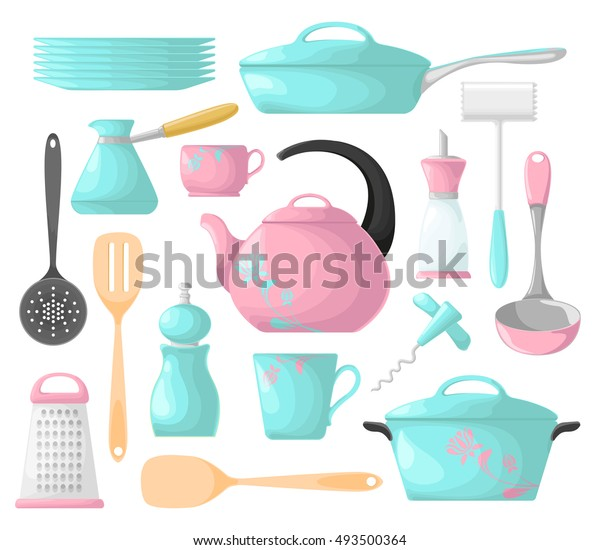 Set Kitchen Utensils Pink Blue Isolation Stock Vector