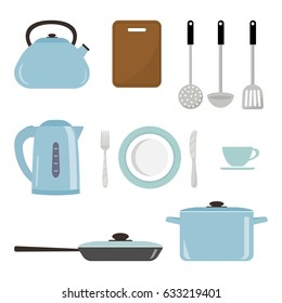 Set of kitchen utensils and tools in a blue color isolated on white background. There is a saucepan, a kettle, a frying pan, a plate, a fork, a knife and other objects in the picture. Vector image