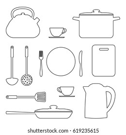 Set of kitchen utensils and tools in contours, isolated on white background. There is a saucepan, a kettle, a frying pan, a plate, a fork, a knife and other objects in the picture. Vector illustration