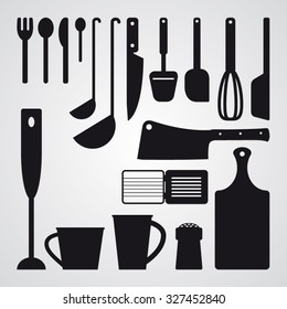 Set of kitchen utensils and tools - vector silhouettes