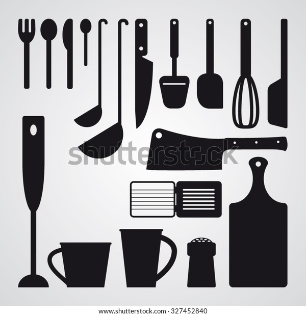 Set Kitchen Utensils Tools Vector Silhouettes Stock Vector ...