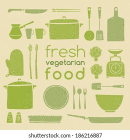 Set of kitchen ware.  Fresh vegetarian food. Retro plates and dishes. Cute kitchen collection.