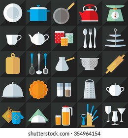Set of kitchenware flat style icons vector illustration