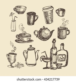 Set with kitchenware illustration. Sketch vector illustration. Cup teapots drinks