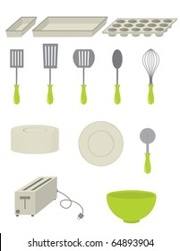 Set of kitchenware including spatulas, pans, a pizza cutter, bowl, plate, and a toaster - vector