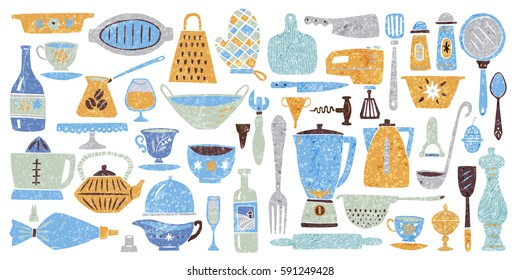 Set of kitchenware and utensils hand drawn vector illustrations in bright modern hand drawn style with organic texture isolated on white background. Elements for design.