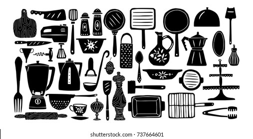 Set of kitchenware and utensils silhouettes hand drawn vector illustrations in bright modern hand drawn style with organic texture isolated on white background. Elements for design.